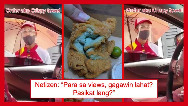 """Video ng babaeng ginawang katuwaan ang pag-order ng """"crispy towel"""" sa Jollibee, nag-viral"""