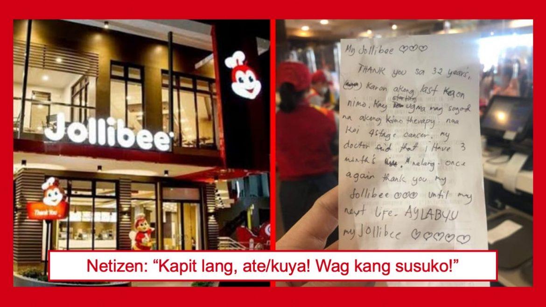 Cancer patient, nag-iwan ng emosyonal na 'thank you note' sa Jollibee